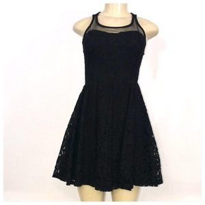 Black Lace Floral Skater Dress Small